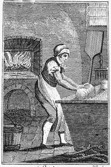 Women making bread in bakery sketch