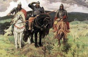 Sketch of three brothers named Czech, Lech and Rus riding horses