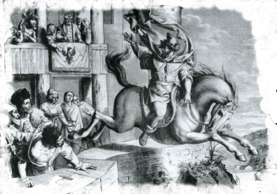 Sketch of Horymír and his horse Šemík jumping over walls