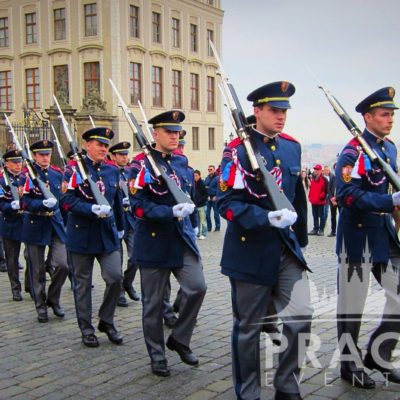 Guards marching on the streets of Prague - Biotronik