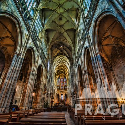Inside St. Vitus Cathedral in Prague