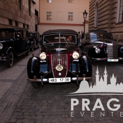 Old cars at Gangster theme party in Prague