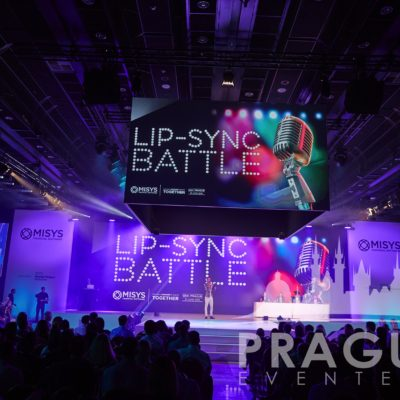 Lip-sync battle announcement at Misys Software event in Prague