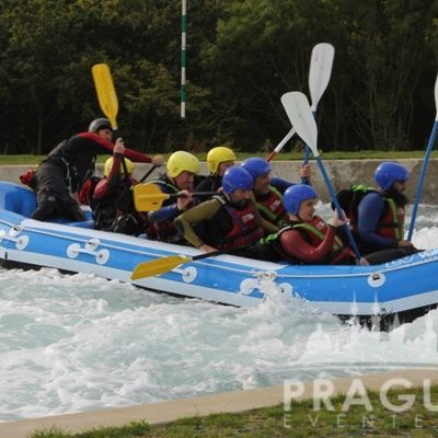 Group of men are rafting on the river