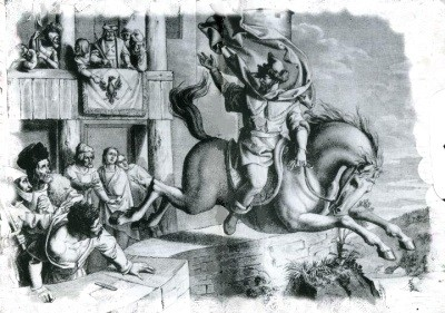 Sketch of Horymír and his horse Šemík jumping over walls